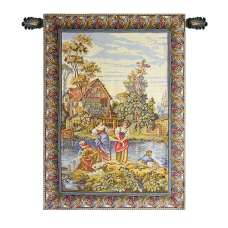 Washing by the Lake Small Vertical  Italian Tapestry Wall Hanging