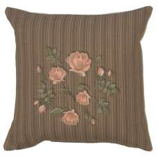 Pink Roses Floral French Tapestry Cushion