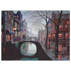 Meeting on a Bridge Stretched Wall Tapestry