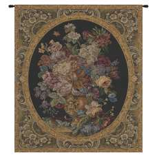 Floral Composition in Vase Dark Green Italian Tapestry Wall Hanging
