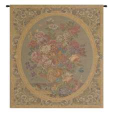 Floral Composition in Vase Cream Italian Wall Hanging Tapestry