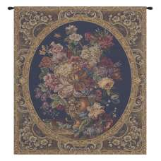 Floral Composition in Vase Dark Blue Italian Tapestry Wall Hanging