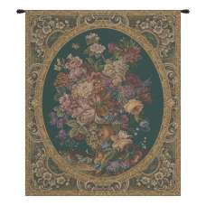 Floral Composition in Vase Green Italian Tapestry Wall Hanging