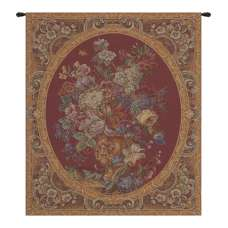 Floral Composition in Vase Burgundy Italian Tapestry Wall Hanging