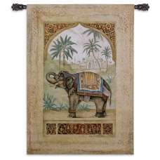 Old World Elephant II Tapestry Wall Hanging
