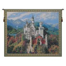 Neuschwanstein Castle Bright Belgian Tapestry Wall Hanging