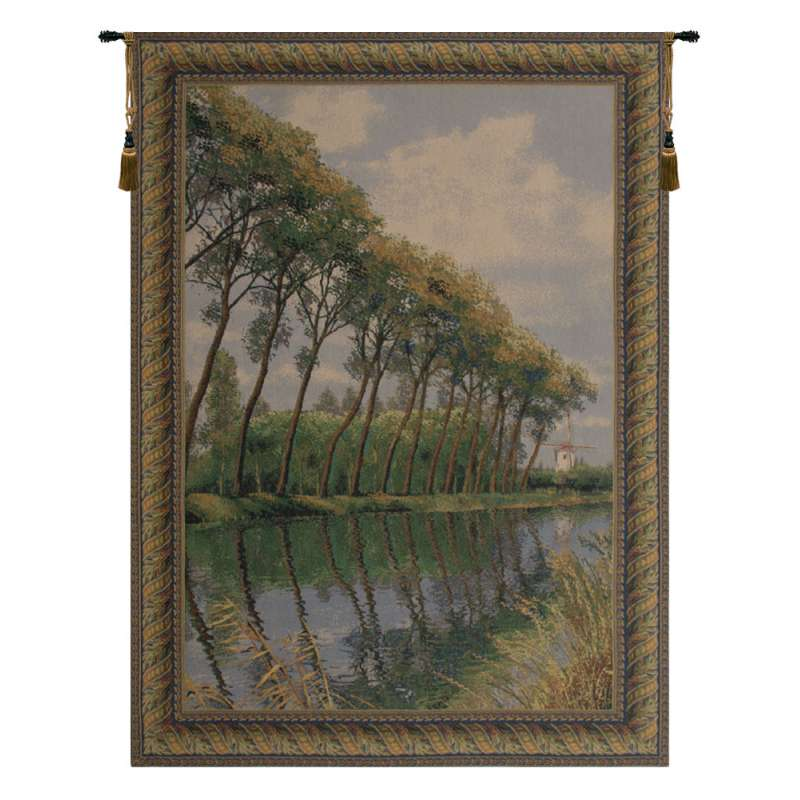 Canal in Flanders Mill Belgian Tapestry Wall Hanging