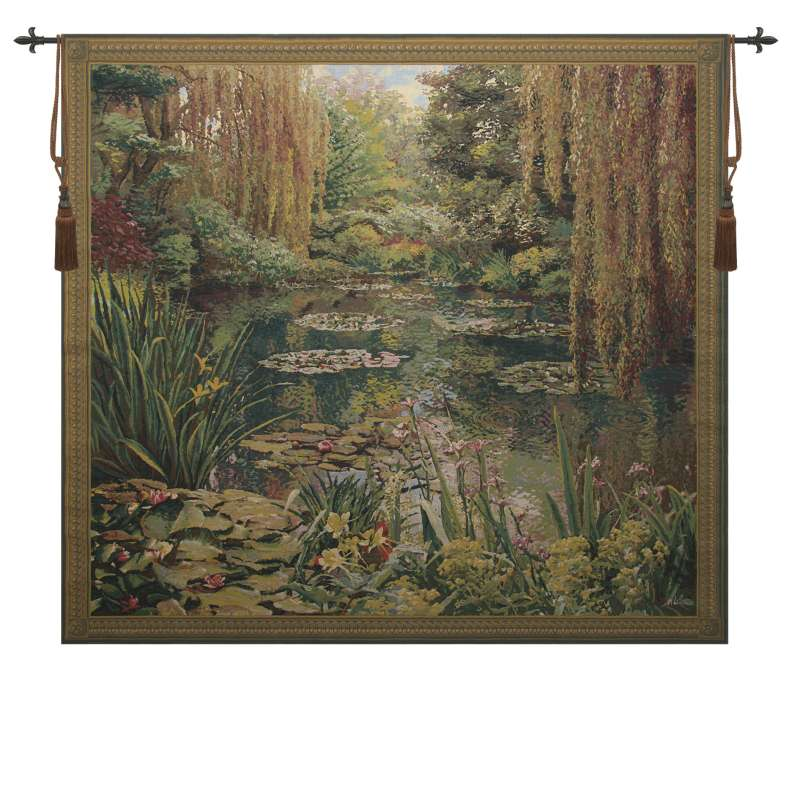 Monet's Garden 3 Large with Border Belgian Tapestry Wall Hanging