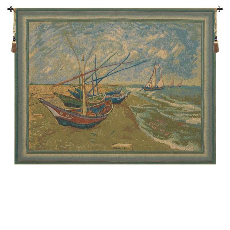 Van Goghs Fishing Boats Belgian Tapestry Wall Hanging