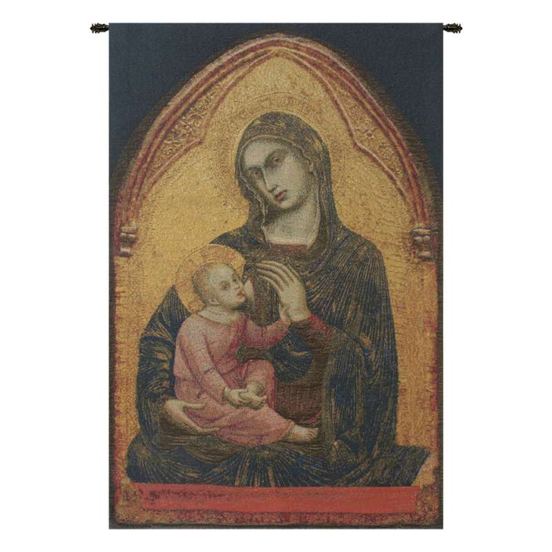 Madonna en Or Belgian Tapestry Wall Hanging