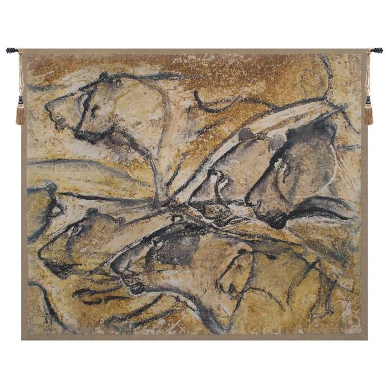 Lions of Chauvet Belgian Tapestry Wall Hanging