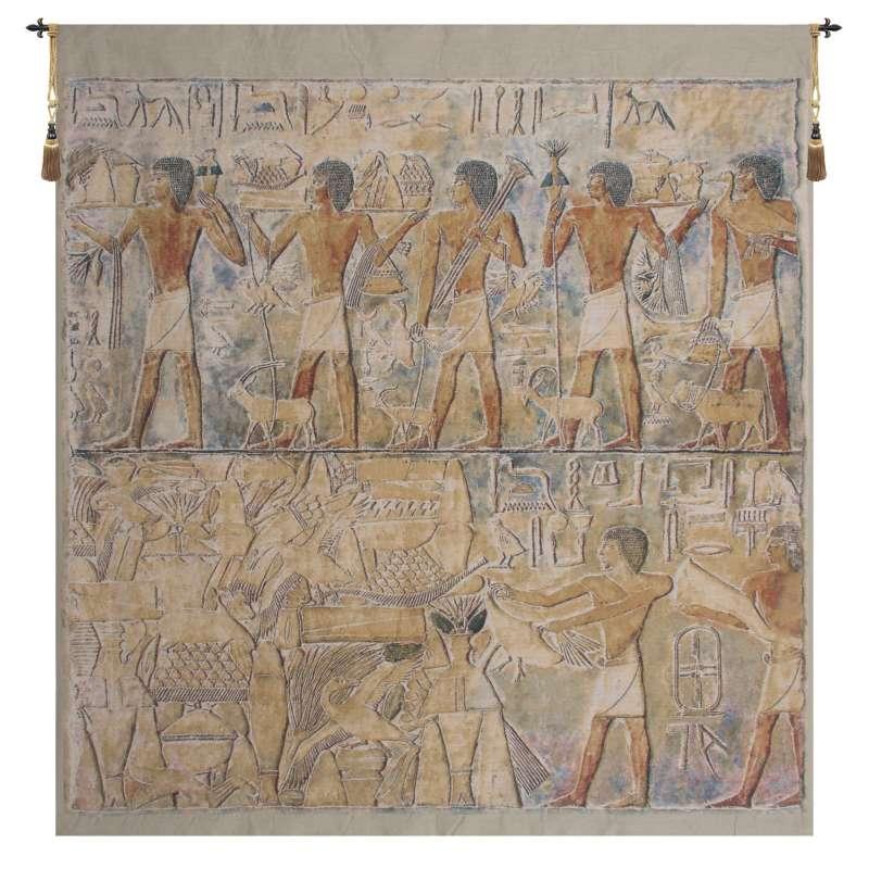 Saqqarah Beige Carre Belgian Tapestry Wall Hanging