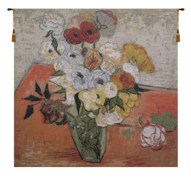 Van Gogh Roses and Anemones Belgian Tapestry Wall Hanging