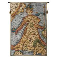 Ptolemaeus Map Belgian Tapestry Wall Hanging