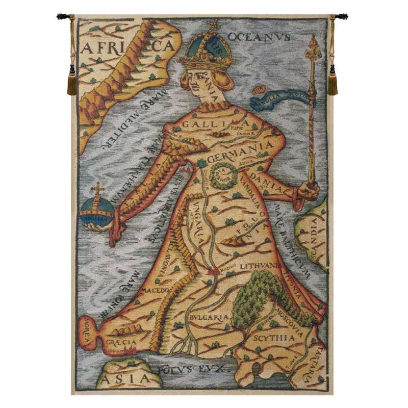 Ptolemaeus Map Belgian Tapestry Wall Hanging