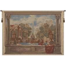 Italian Garden with Parrot European Tapestry Wall Hanging