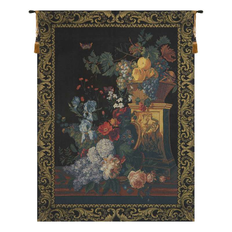 Bouquet on a Column European Tapestry Wall Hanging