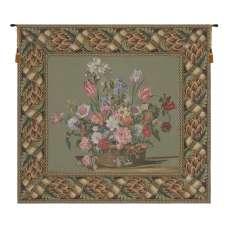 Flower Basket Green European Tapestry Wall Hanging