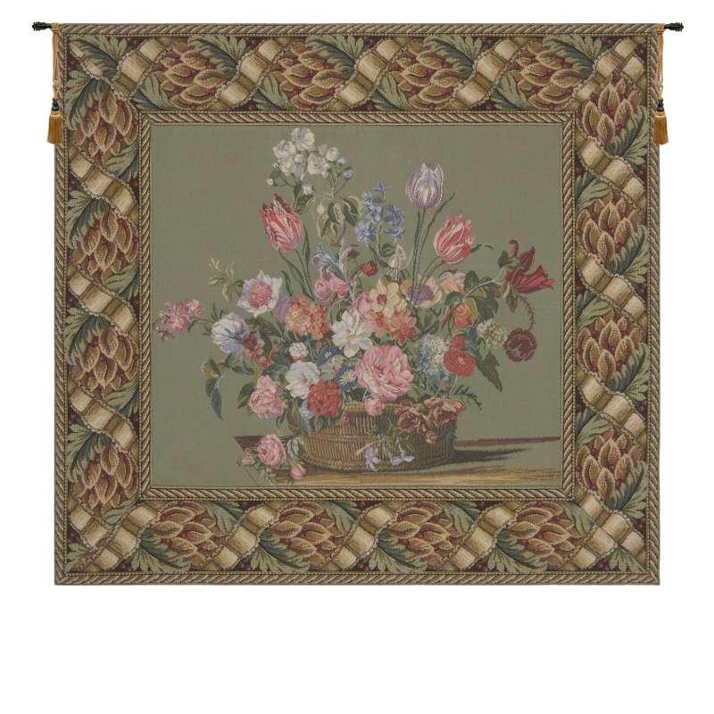 Flower Basket Green European Tapestry