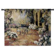 Floral Courtyard Tapestry Wall Hanging
