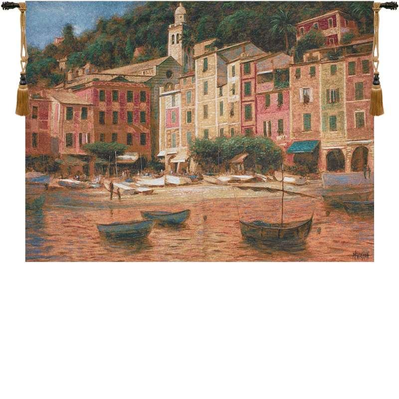 Portofino Scene Fine Art Tapestry