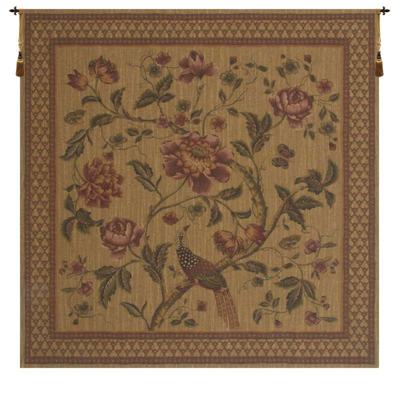Birds of Paradise With Border European Tapestry Wall Hanging
