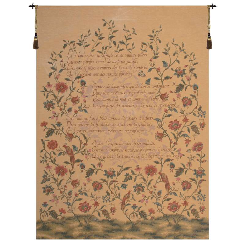 French Poem and Birds European Tapestry