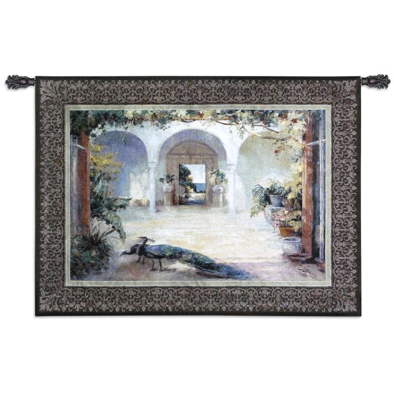 Sunlit Courtyard I Peacock  Tapestry Wall Hanging