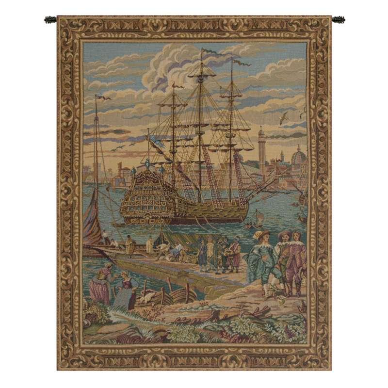 The Galleon Guardi Italian Tapestry Wall Hanging