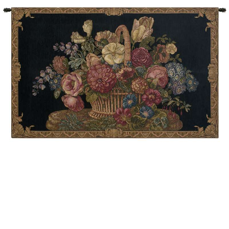 Flower Basket with Black Chenille Background Italian Tapestry Wall Hanging