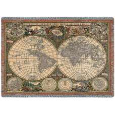 Olde World Map Blanket Tapestry Throw