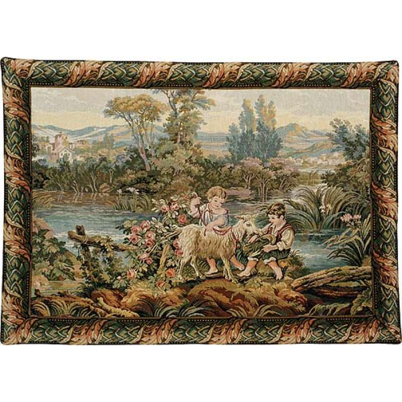 Children By the Lake Italian Tapestry