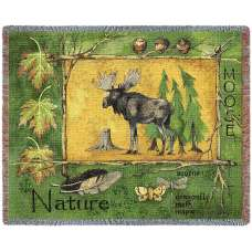 Nature Moose Lodge Tapestry Throw