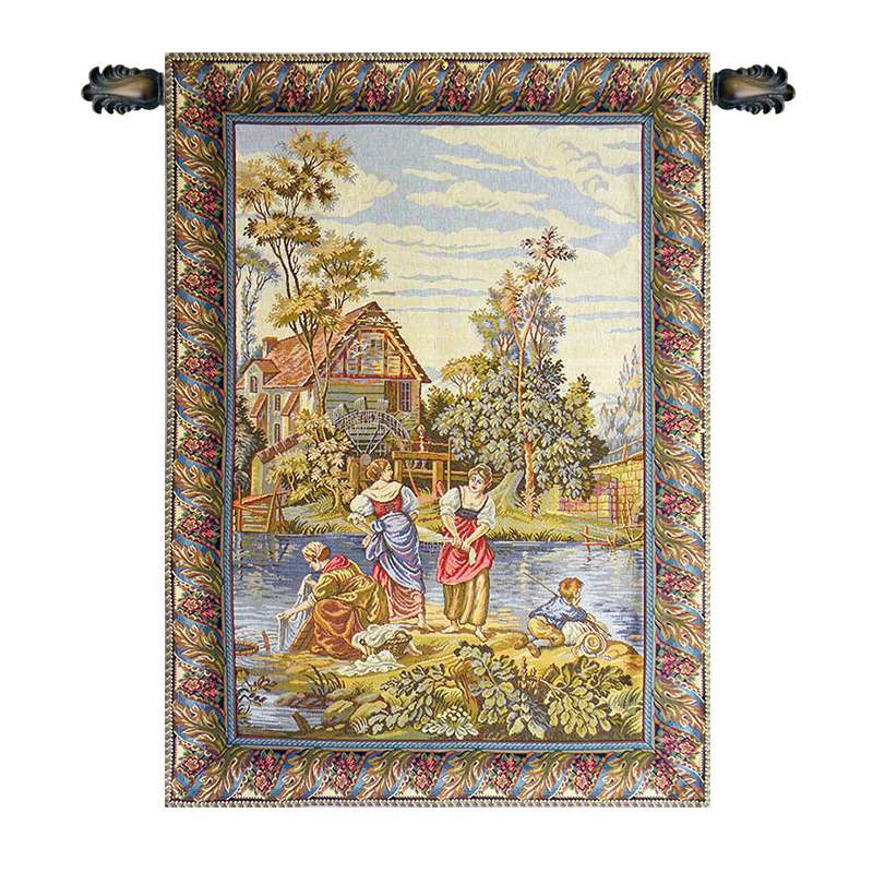 Washing by the Lake Vertical Italian Tapestry Wall Hanging