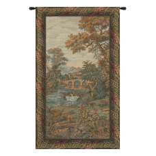 Swan in the Lake Vertical Italian Wall Hanging Tapestry