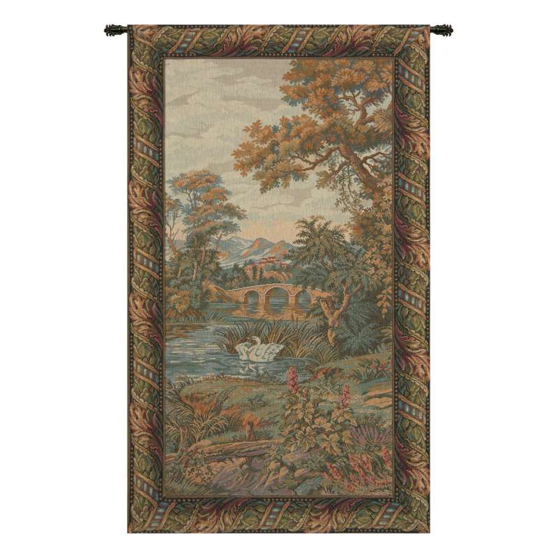 Swan in the Lake Vertical Italian Tapestry Wall Hanging