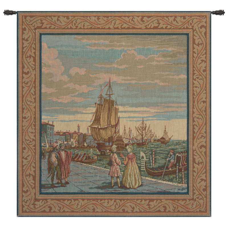 Lagoon Scene in Venice Italian Tapestry Wall Hanging