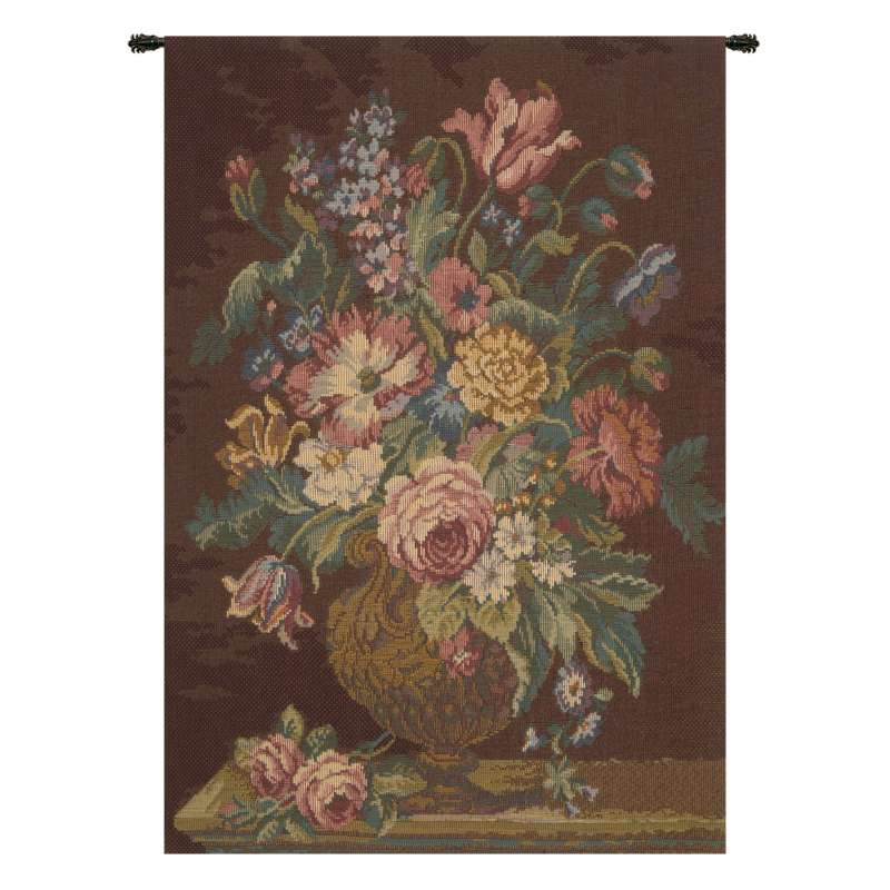 Vase with Flowers Brown Italian Tapestry Wall Hanging