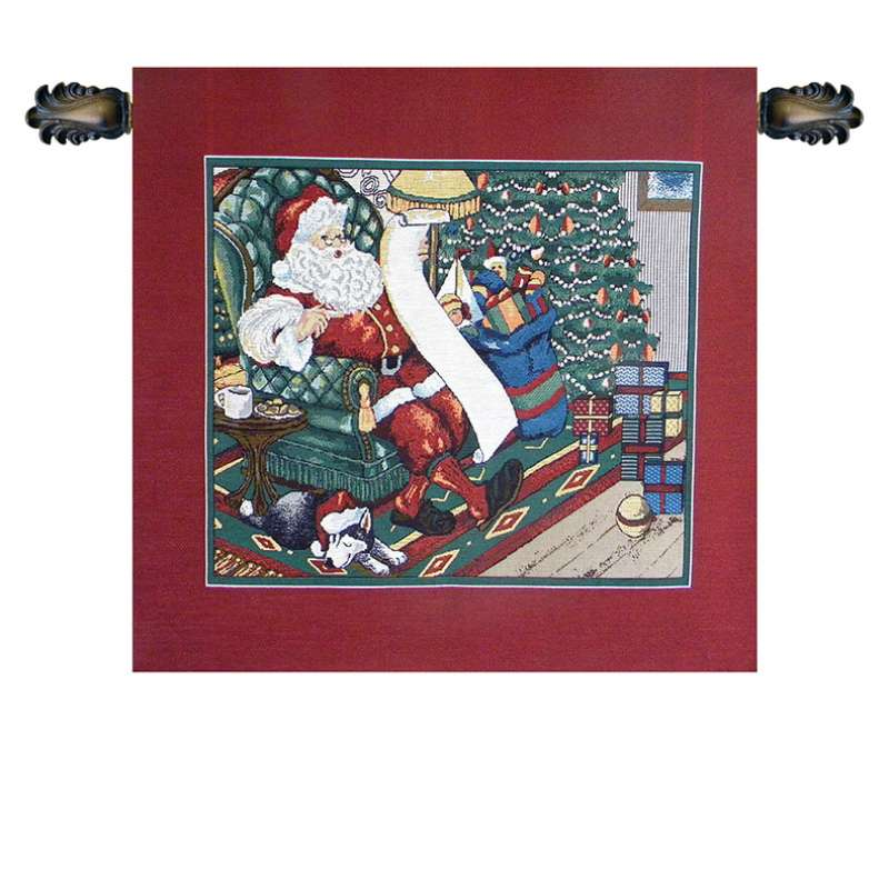 Santa on a Chair Italian Tapestry Wall Hanging