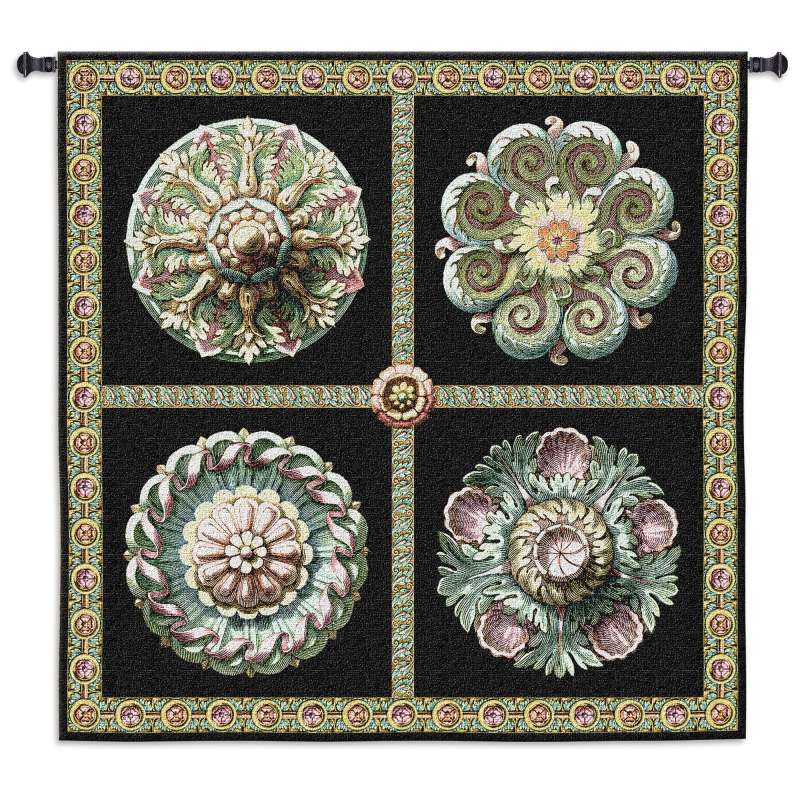 Rosettes on Black Tapestry Wall Hanging