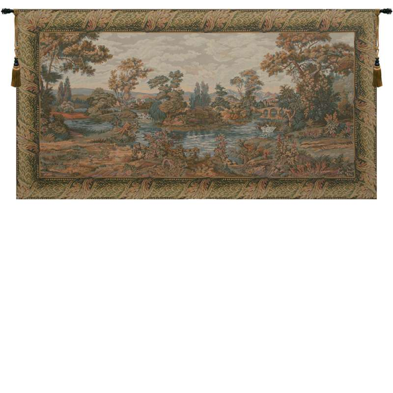 Swan in the Lake Large with Border Italian Tapestry Wall Hanging