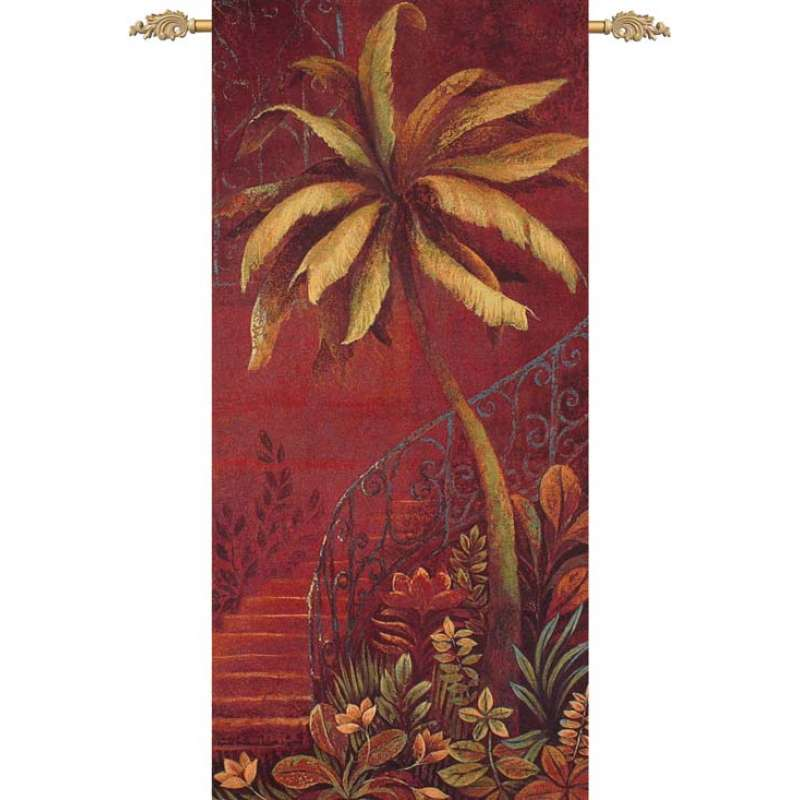 Palm Courtyard II Fine Art Tapestry