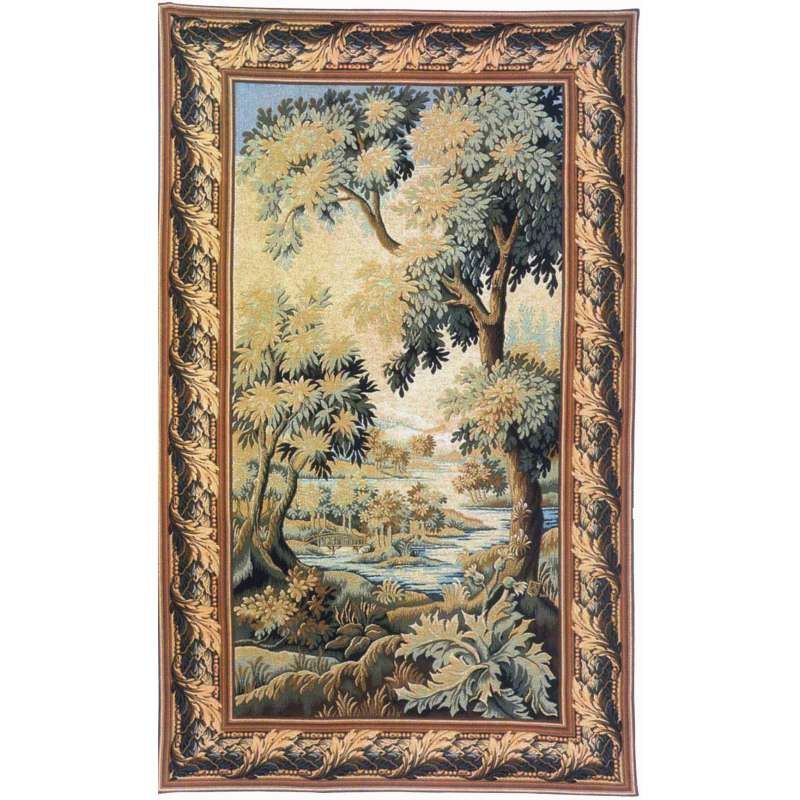 The Forest of Clairmarais with Border French Tapestry Wall Hanging