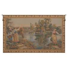 Edge of the River Au Bord de la Riviere French Tapestry Wall Hanging