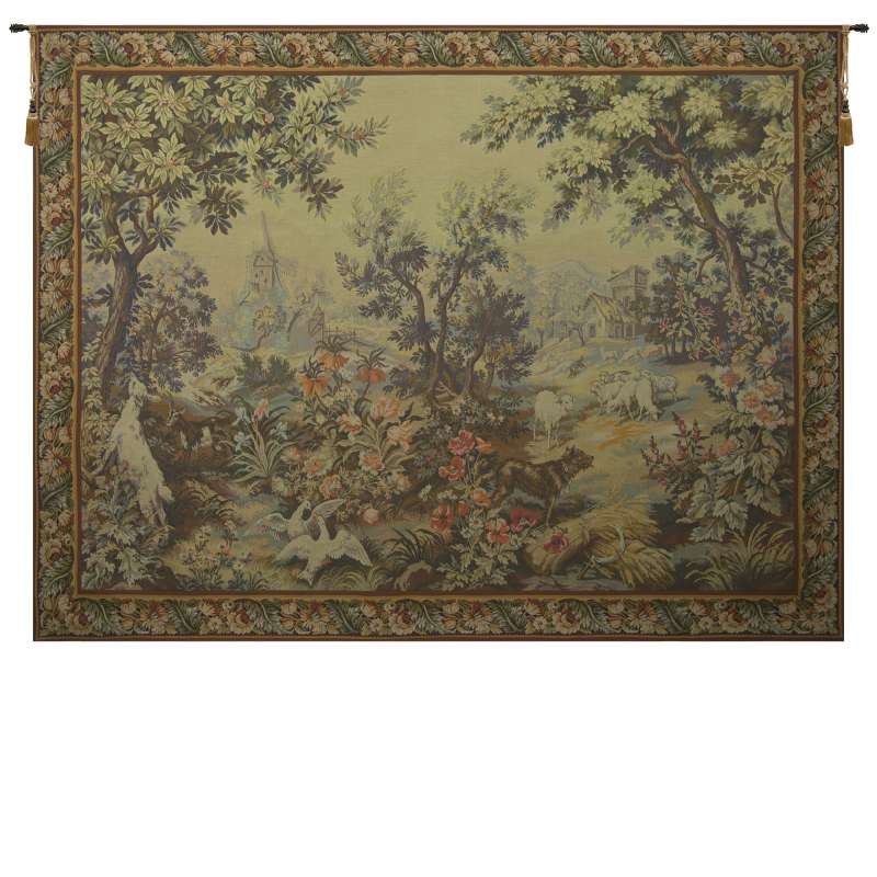 Printemps Ete with Border French Tapestry Wall Hanging