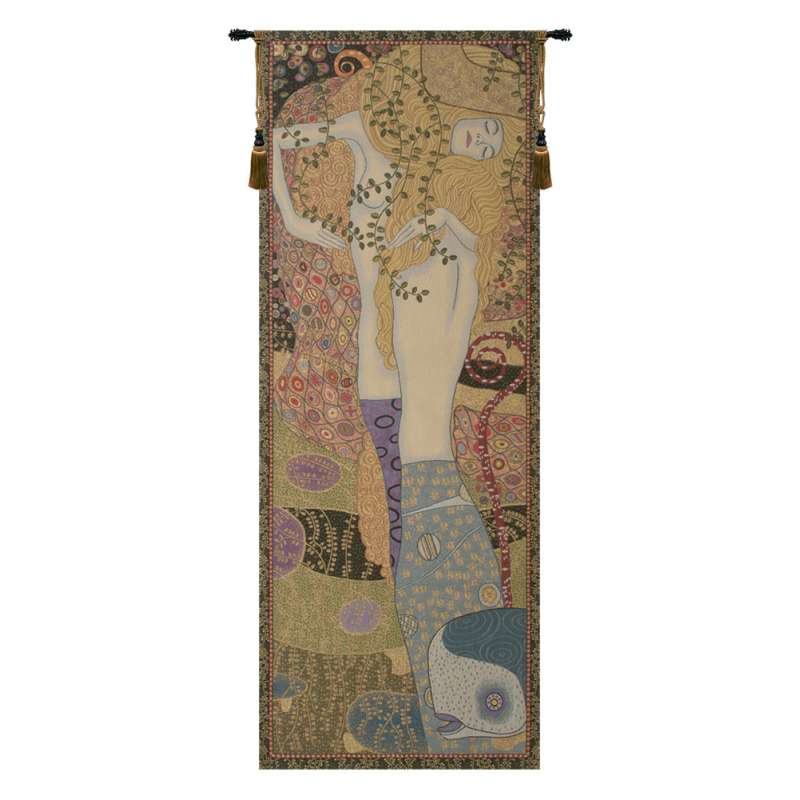 Water Snakes by Klimt Italian Tapestry Wall Hanging
