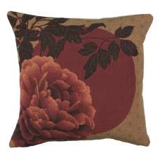 Red Peonies French Tapestry Cushion