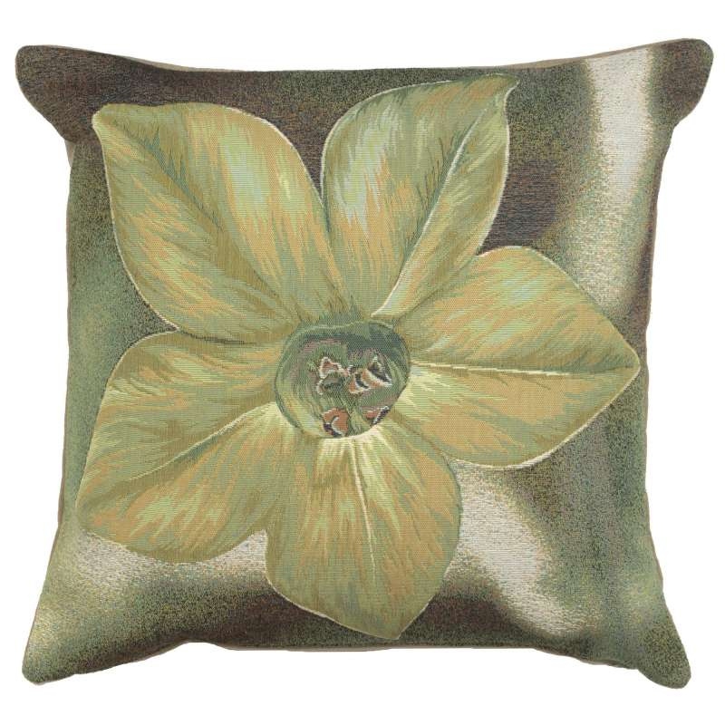 Green Star Flower French Tapestry Cushion