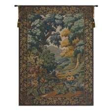 Landscape with Flowers European Tapestry Wall Hanging