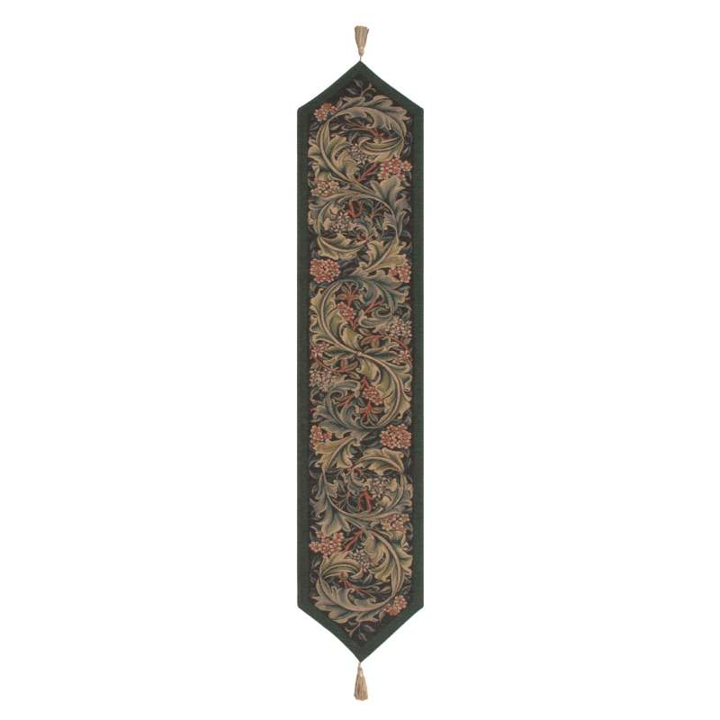 William Morris Green French Tapestry Table Runner